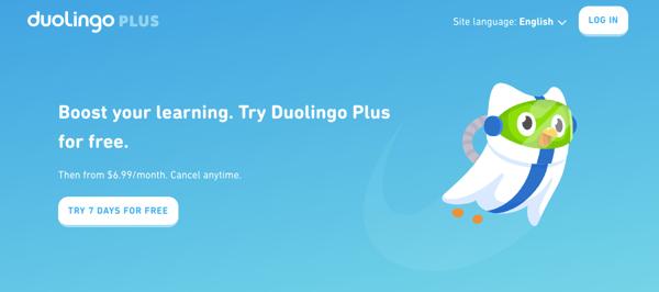 Duolingo Plus landing page