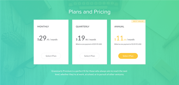 grammarly-pricing-03-pricing-table.png Grammarly's pricing feels high for a B2C-style product. Grammarly's pricing feels high for a B2C-style product.