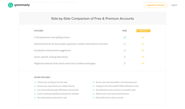 grammarly-pricing-01-comparison.png Grammarly's pricing page doesn't distinguish which features come for free and which are premium. Grammarly's pricing page doesn't distinguish which features come for free and which are premium.