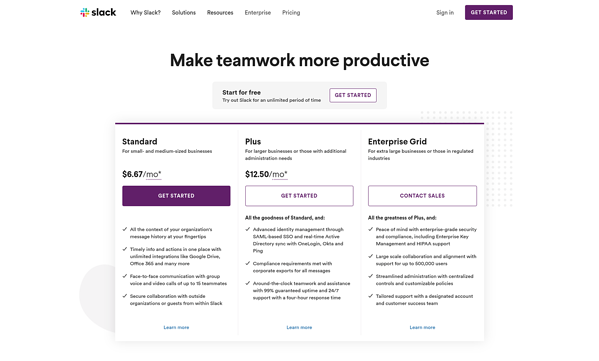 Slack's pricing page is a shining star in a world of mediocre designs.