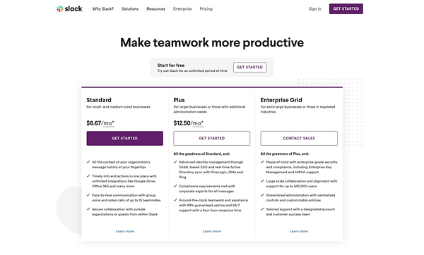 Slack nails their SaaS pricing strategy with value-aligned tiers.
