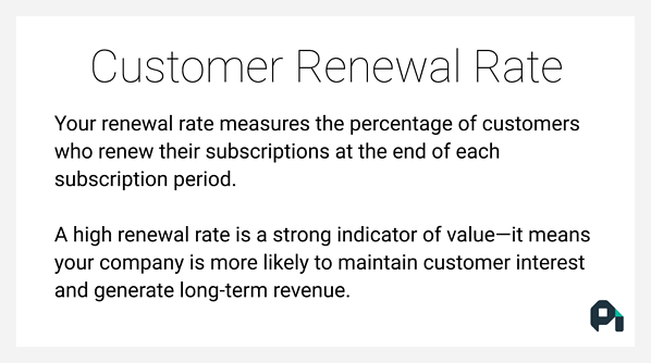 Renewal rate measures the percentage of customers who renew their subscriptions at the end of each subscription period.