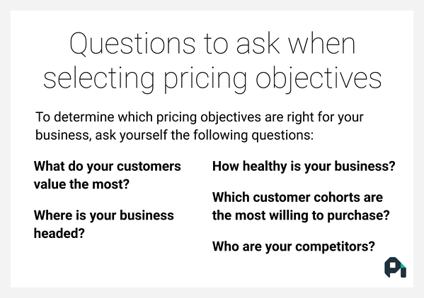 Ask yourself these questions to choose the best pricing objectives for your business.