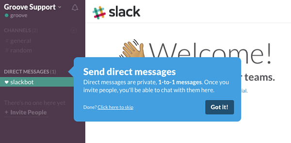 Slack uses tooltips to help onboard customers and reduce churn.