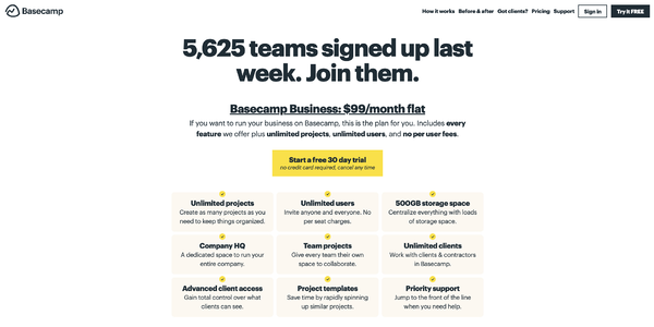 Basecamp pricing page